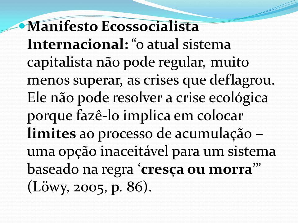 Manifesto Ecossocialista Internacional: o atual sistema capitalista não pode regular, muito menos superar, as crises que deflagrou.