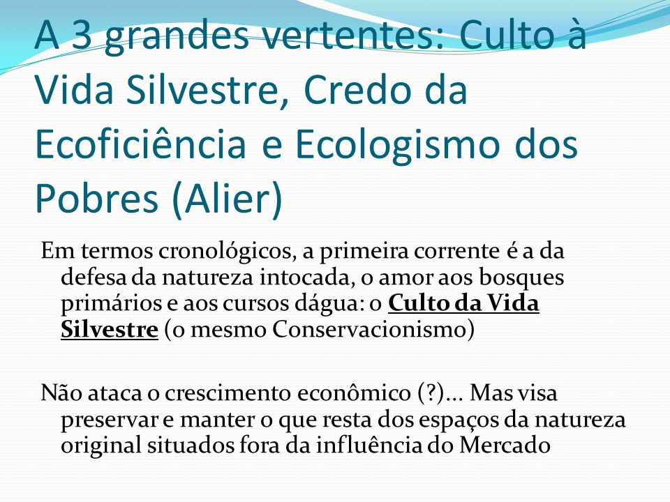 A 3 grandes vertentes: Culto à Vida Silvestre, Credo da Ecoficiência e Ecologismo dos Pobres (Alier)