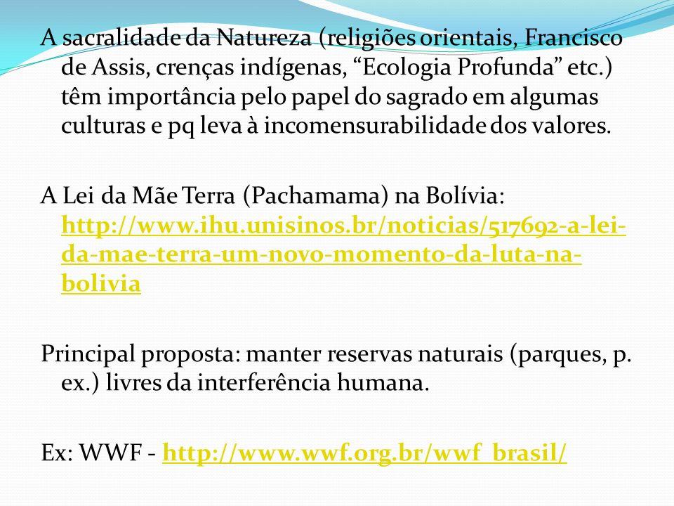 A sacralidade da Natureza (religiões orientais, Francisco de Assis, crenças indígenas, Ecologia Profunda etc.) têm importância pelo papel do sagrado em algumas culturas e pq leva à incomensurabilidade dos valores.