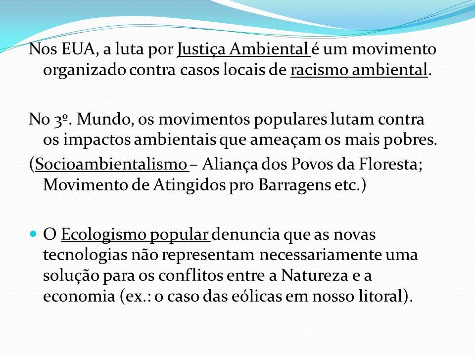 Nos EUA, a luta por Justiça Ambiental é um movimento organizado contra casos locais de racismo ambiental.