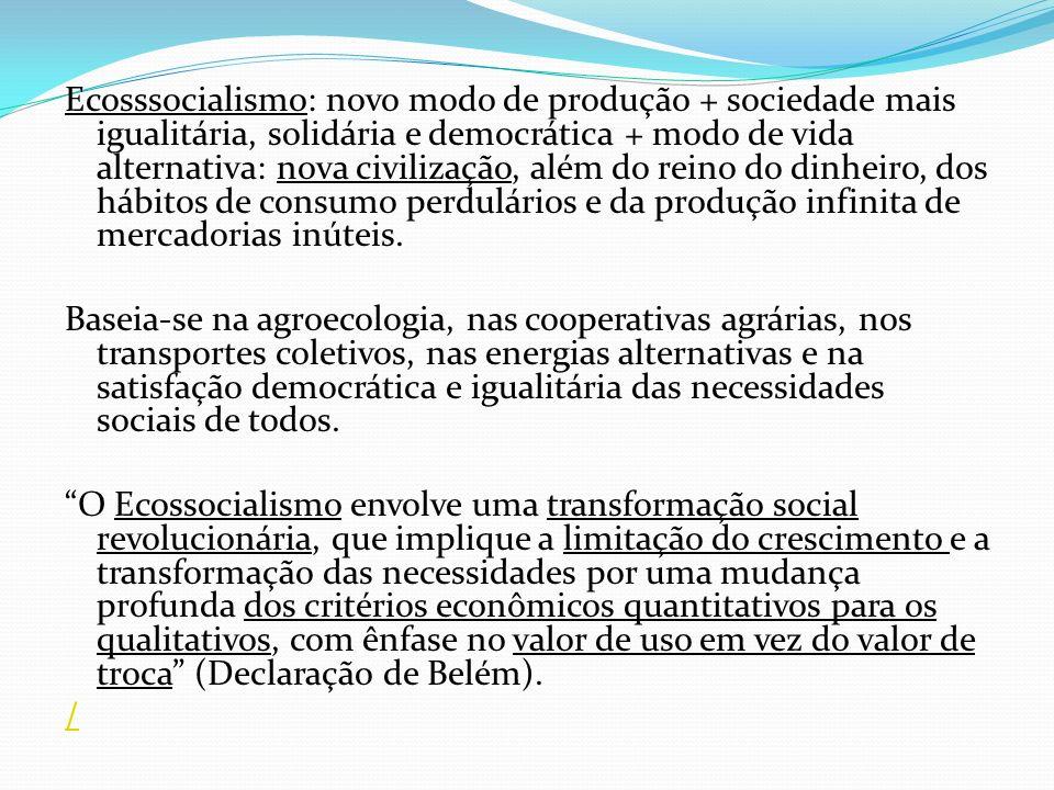 Ecosssocialismo: novo modo de produção + sociedade mais igualitária, solidária e democrática + modo de vida alternativa: nova civilização, além do reino do dinheiro, dos hábitos de consumo perdulários e da produção infinita de mercadorias inúteis.