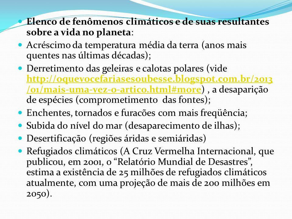 Elenco de fenômenos climáticos e de suas resultantes sobre a vida no planeta: