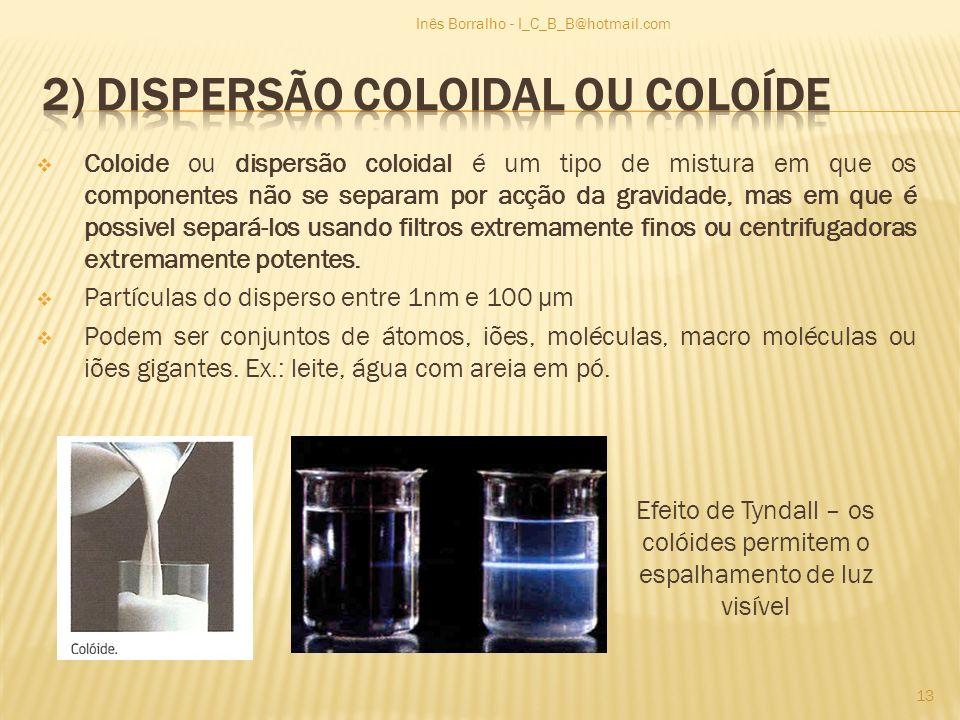 2) Dispersão coloidal ou coloíde