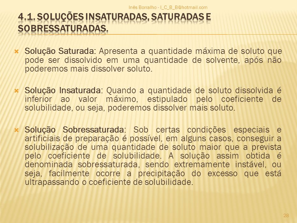 4.1. Soluções insaturadas, saturadas e sobressaturadas.