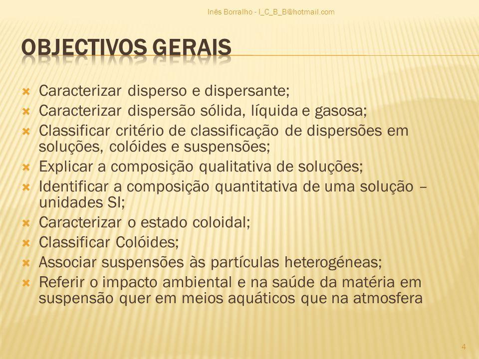 Objectivos Gerais Caracterizar disperso e dispersante;
