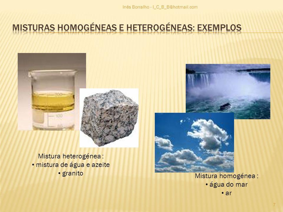 Misturas homogéneas e heterogéneas: Exemplos