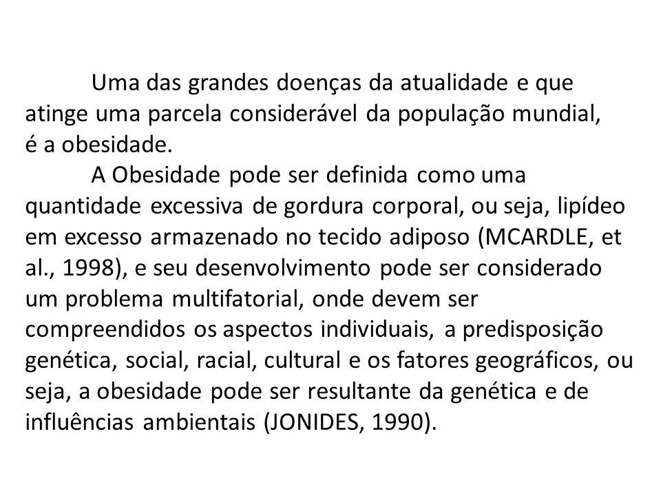 Uma das grandes doenças da atualidade e que atinge uma parcela considerável da população mundial, é a obesidade.