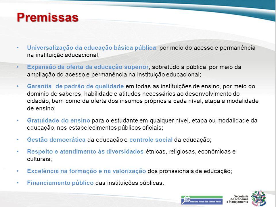 Premissas Universalização da educação básica pública, por meio do acesso e permanência na instituição educacional;