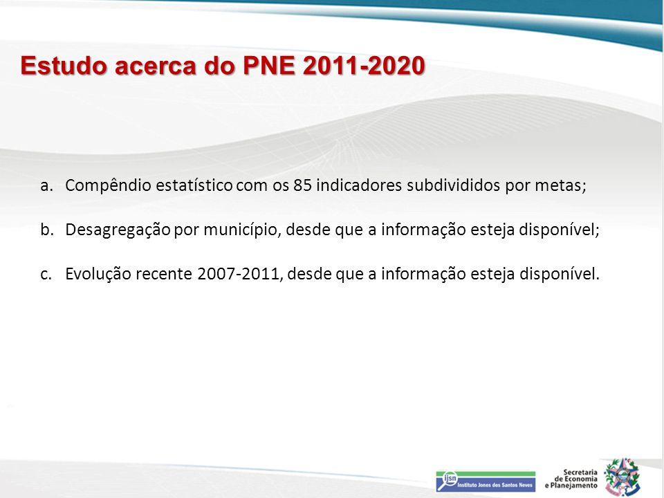 Estudo acerca do PNE 2011-2020 Compêndio estatístico com os 85 indicadores subdivididos por metas;