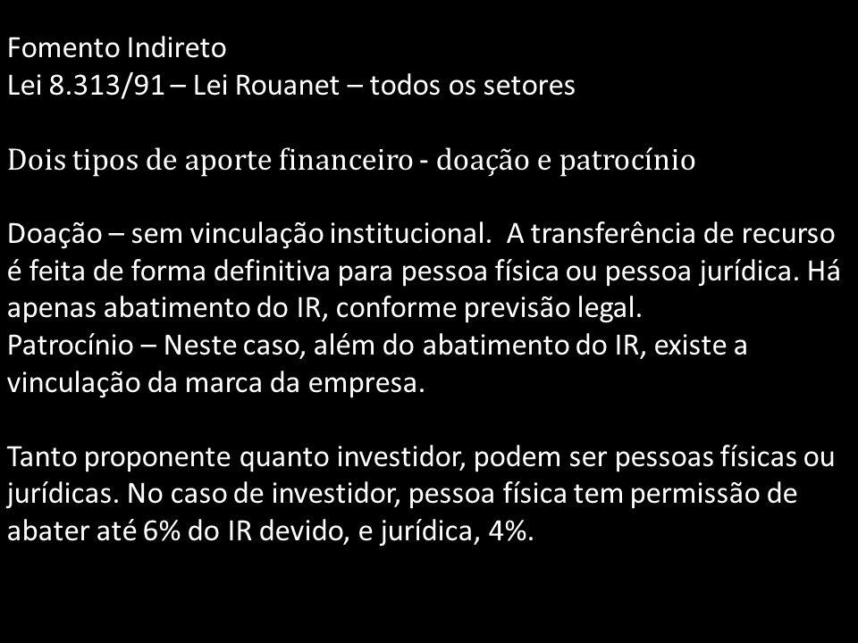 Fomento Indireto Lei 8.313/91 – Lei Rouanet – todos os setores. Dois tipos de aporte financeiro - doação e patrocínio.