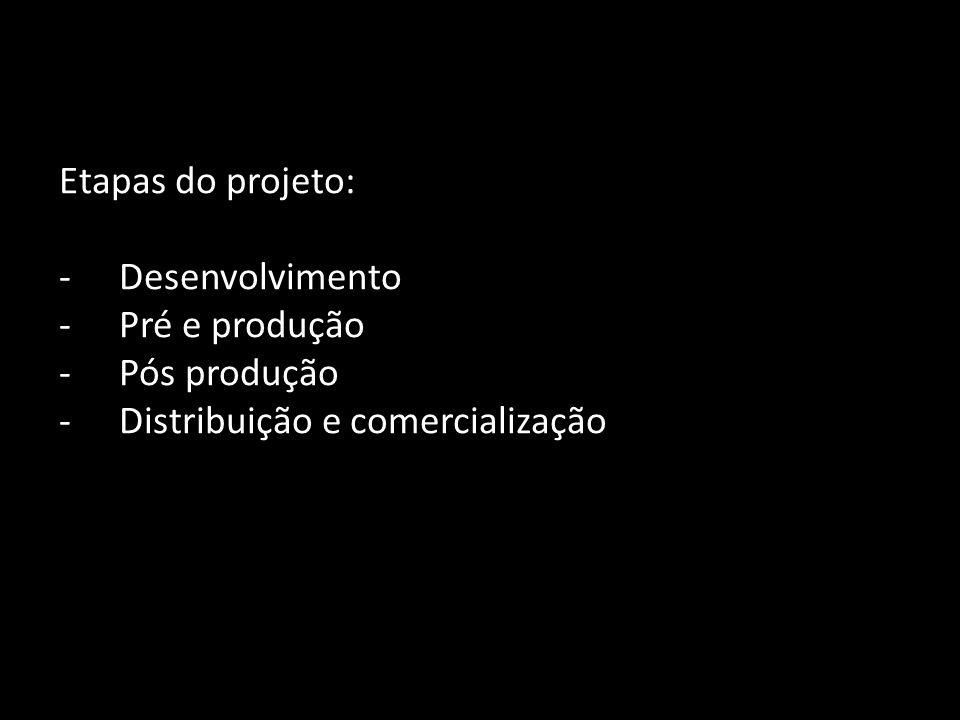 Etapas do projeto: Desenvolvimento Pré e produção Pós produção Distribuição e comercialização