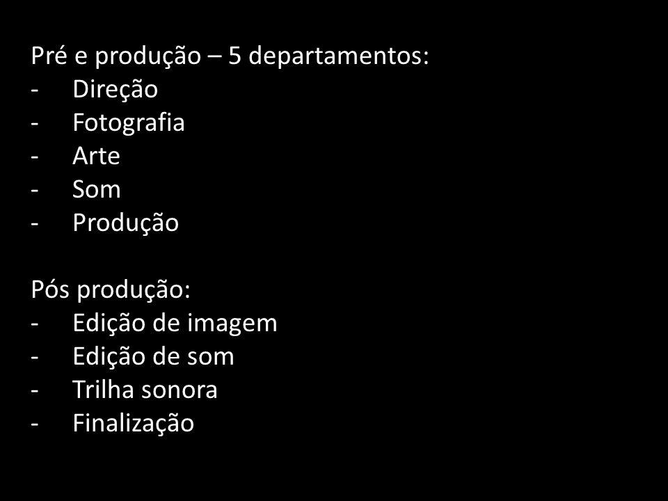 Pré e produção – 5 departamentos:
