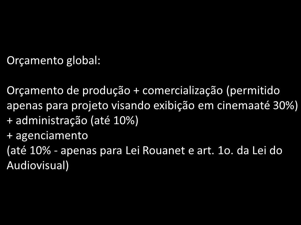 Orçamento global: Orçamento de produção + comercialização (permitido apenas para projeto visando exibição em cinemaaté 30%)