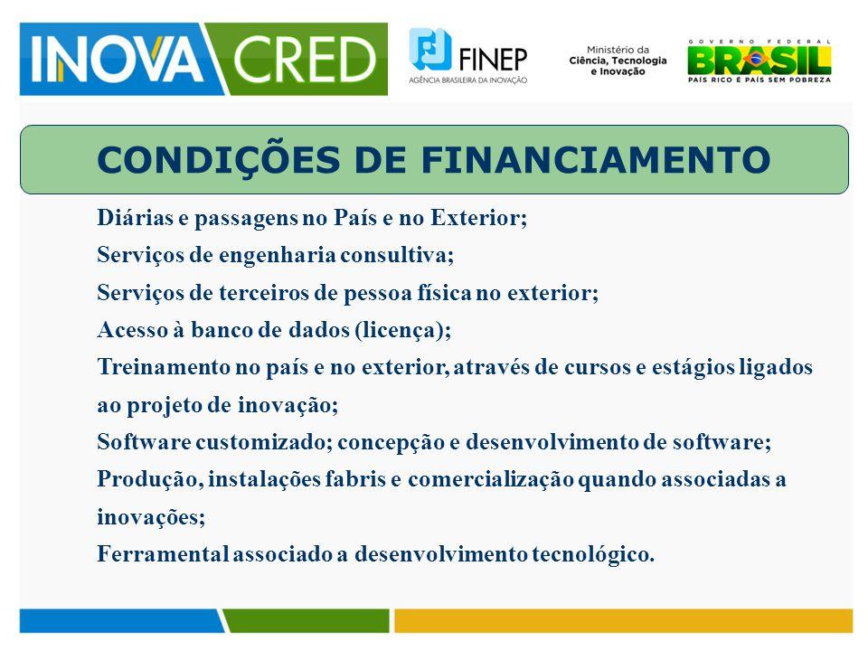 CONDIÇÕES DE FINANCIAMENTO