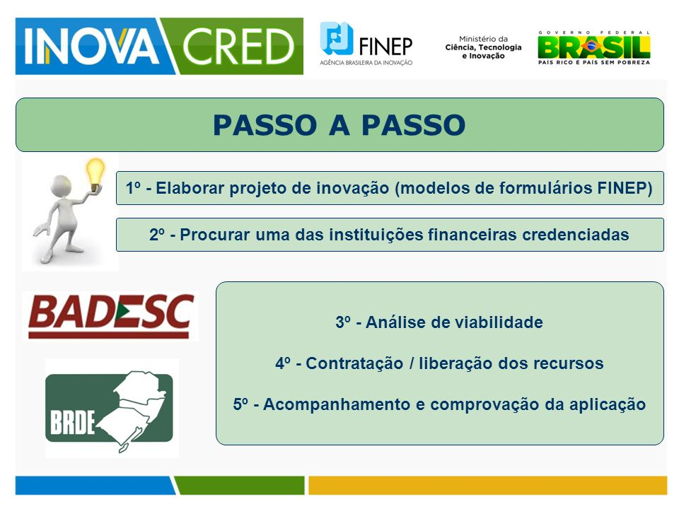 PASSO A PASSO 1º - Elaborar projeto de inovação (modelos de formulários FINEP) 2º - Procurar uma das instituições financeiras credenciadas.