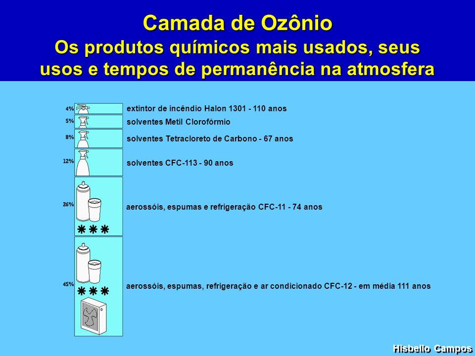 Camada de Ozônio Os produtos químicos mais usados, seus usos e tempos de permanência na atmosfera. extintor de incêndio Halon 1301 - 110 anos.