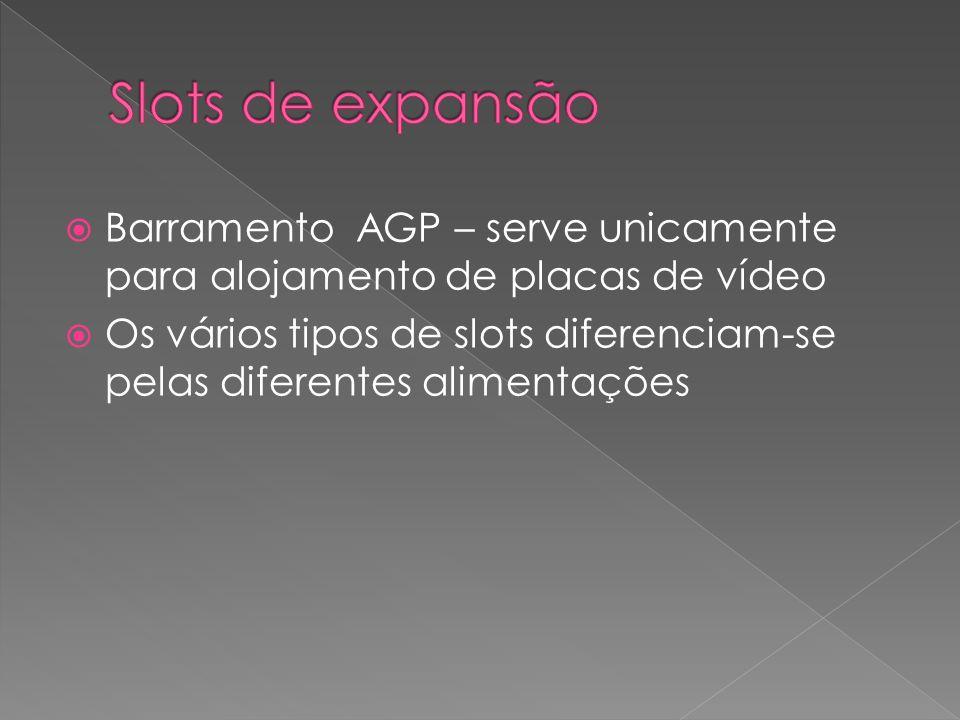 Slots de expansão Barramento AGP – serve unicamente para alojamento de placas de vídeo.
