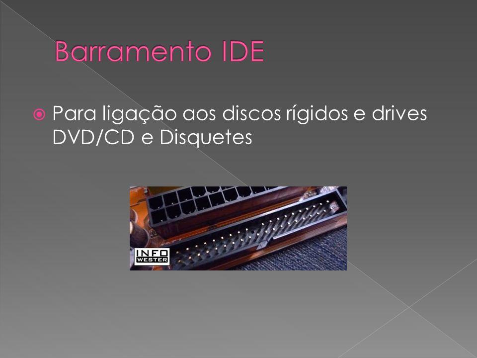 Barramento IDE Para ligação aos discos rígidos e drives DVD/CD e Disquetes