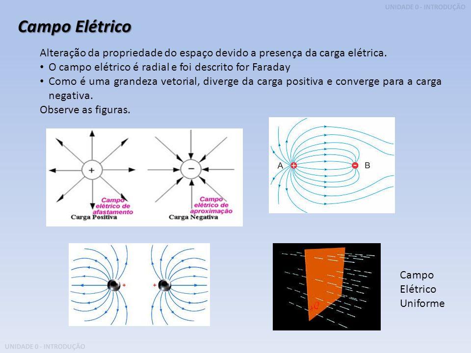 Campo Elétrico Alteração da propriedade do espaço devido a presença da carga elétrica. O campo elétrico é radial e foi descrito for Faraday.