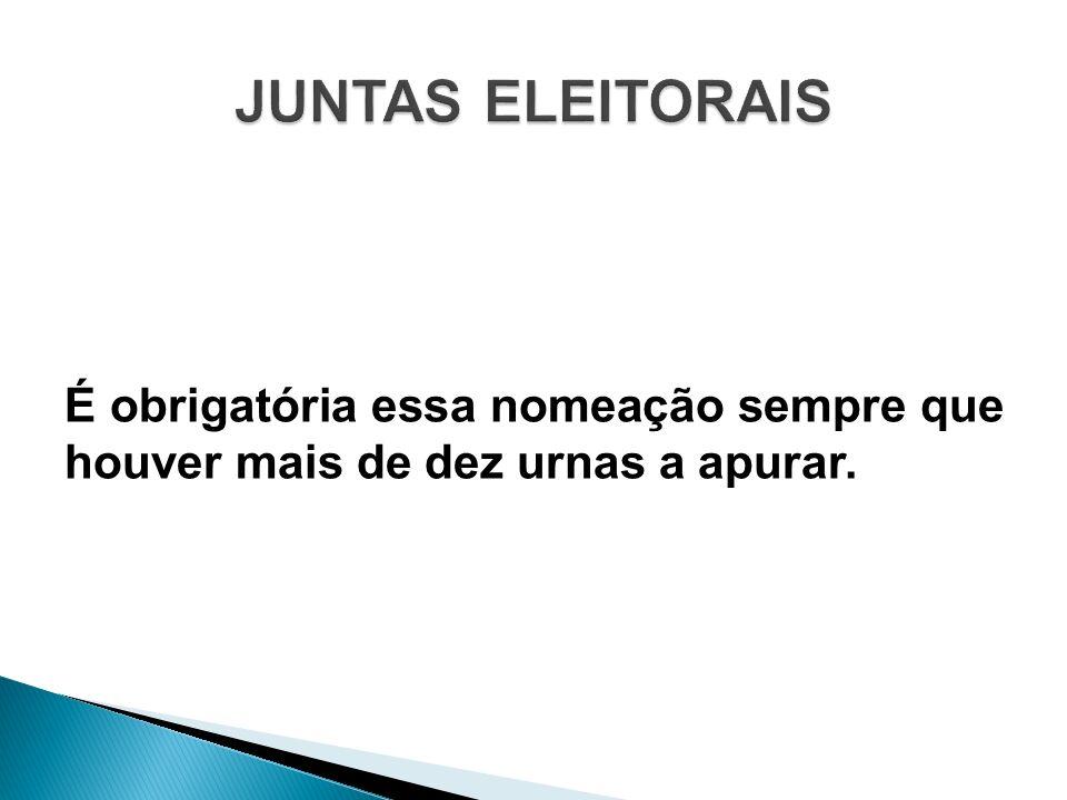 JUNTAS ELEITORAIS É obrigatória essa nomeação sempre que houver mais de dez urnas a apurar.