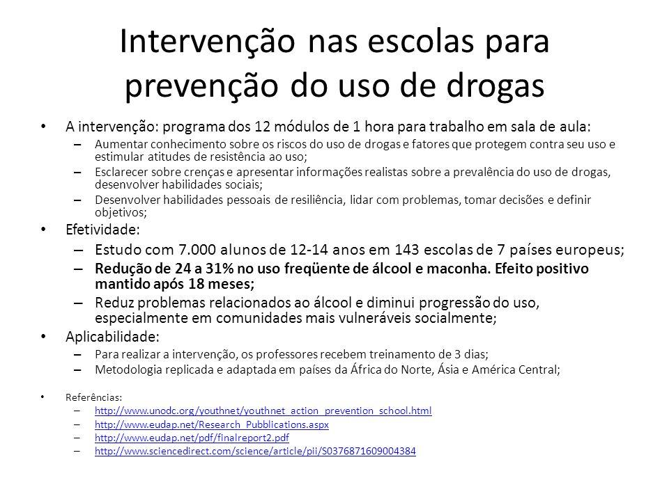 Intervenção nas escolas para prevenção do uso de drogas