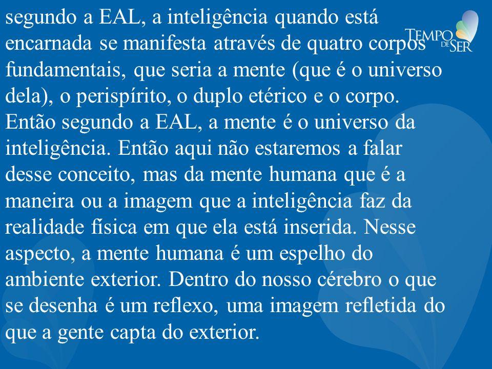 segundo a EAL, a inteligência quando está encarnada se manifesta através de quatro corpos fundamentais, que seria a mente (que é o universo dela), o perispírito, o duplo etérico e o corpo.