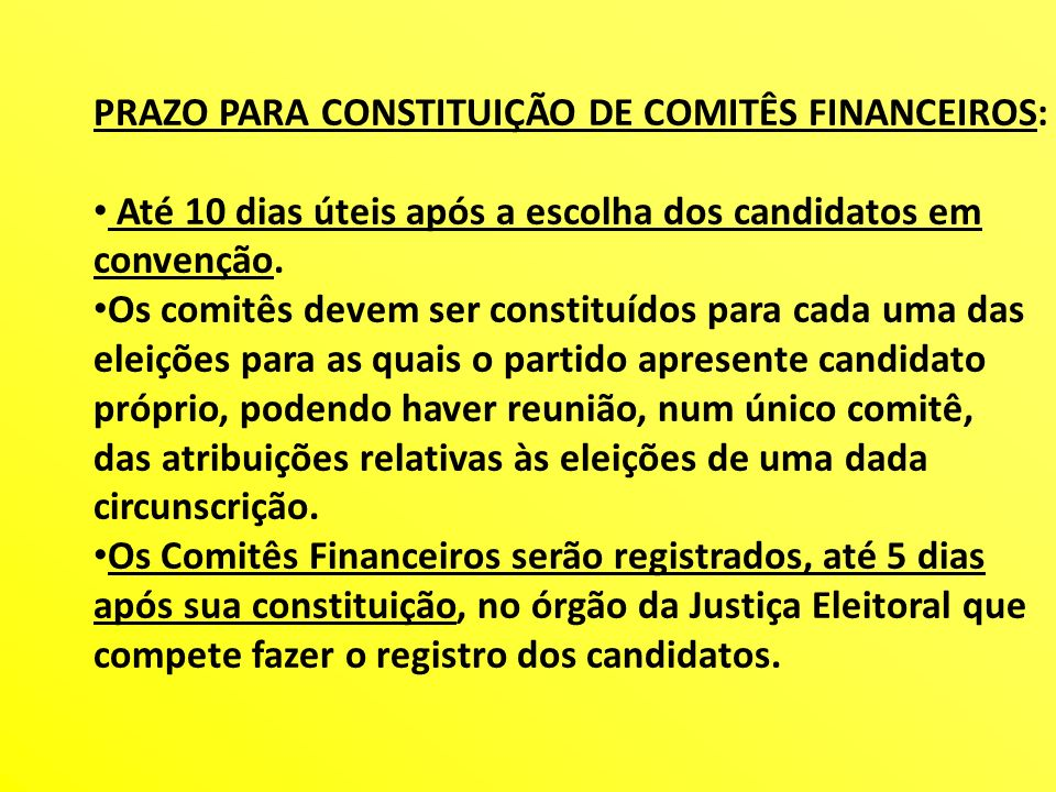 PRAZO PARA CONSTITUIÇÃO DE COMITÊS FINANCEIROS: