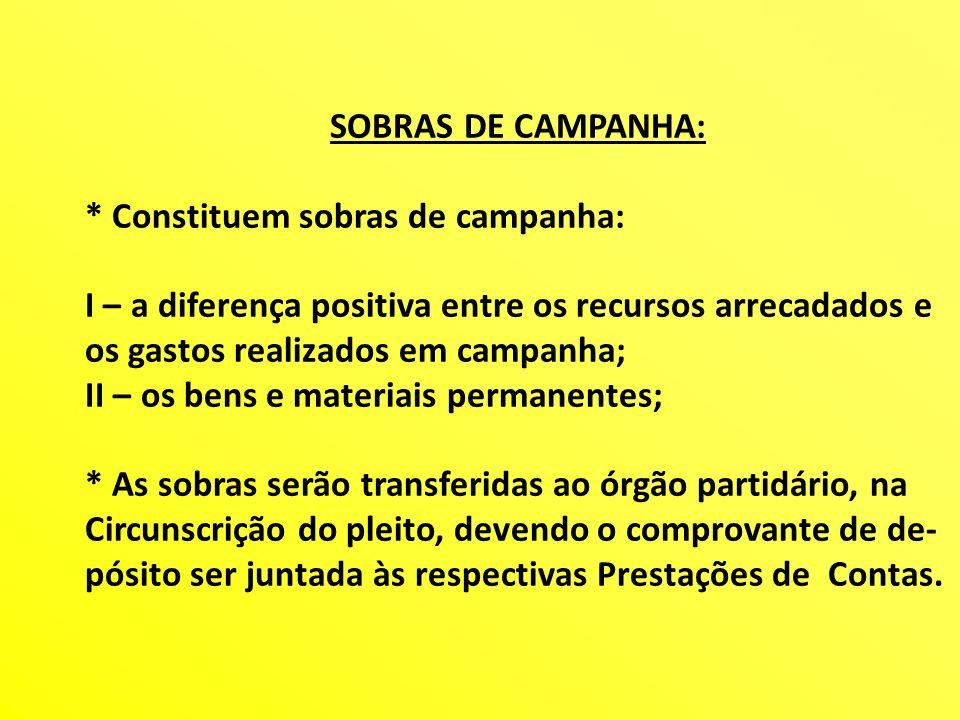 SOBRAS DE CAMPANHA: * Constituem sobras de campanha: I – a diferença positiva entre os recursos arrecadados e.
