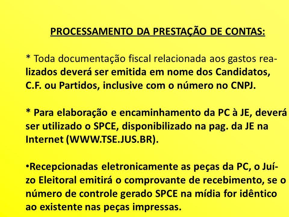 PROCESSAMENTO DA PRESTAÇÃO DE CONTAS: