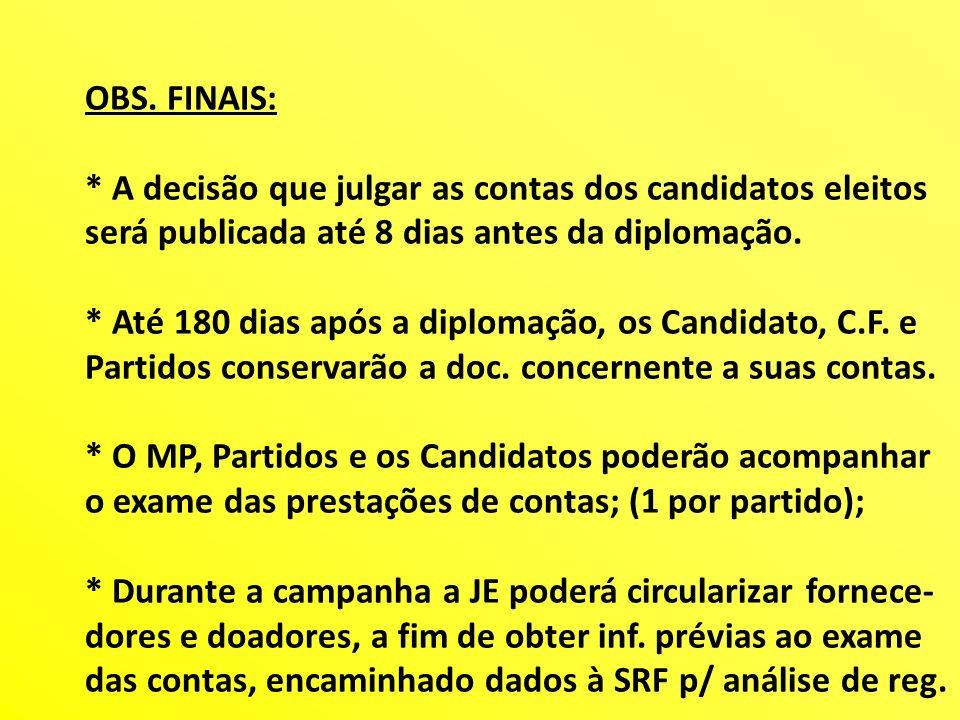 OBS. FINAIS: * A decisão que julgar as contas dos candidatos eleitos. será publicada até 8 dias antes da diplomação.