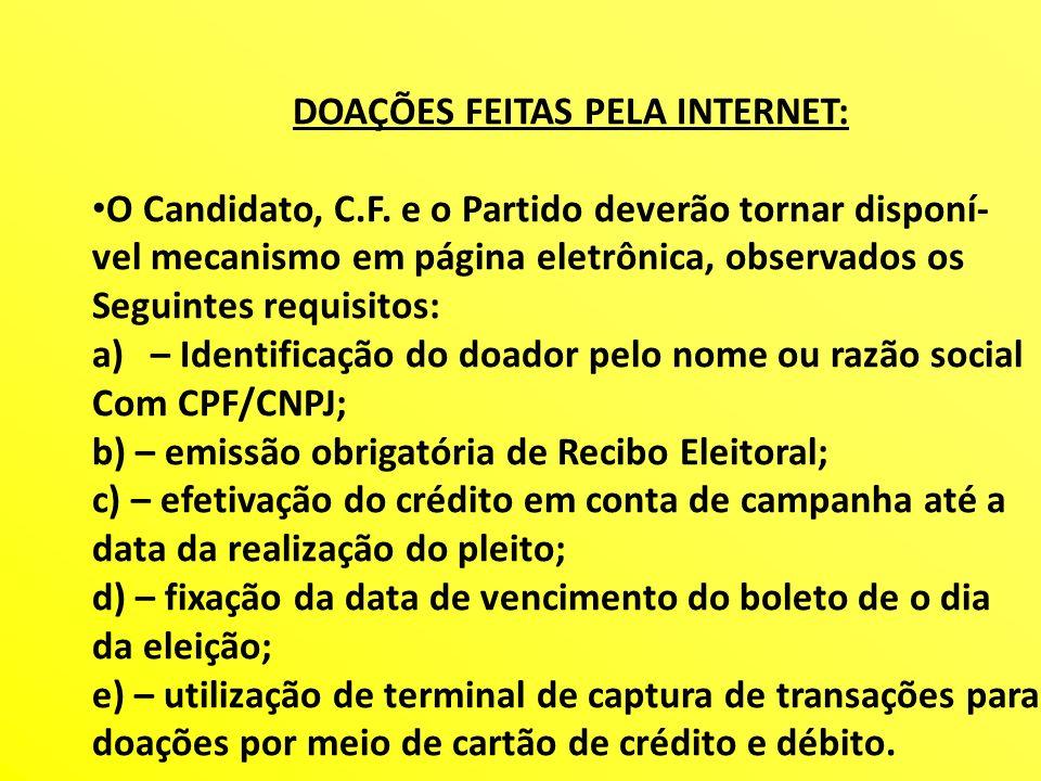 DOAÇÕES FEITAS PELA INTERNET: