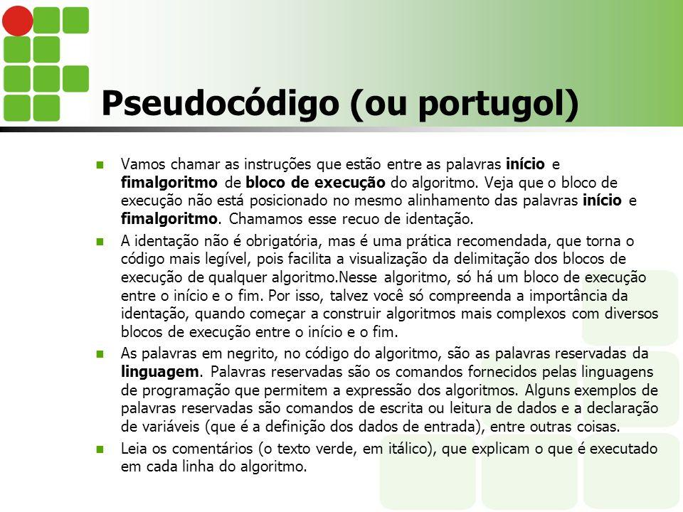 Pseudocódigo (ou portugol)