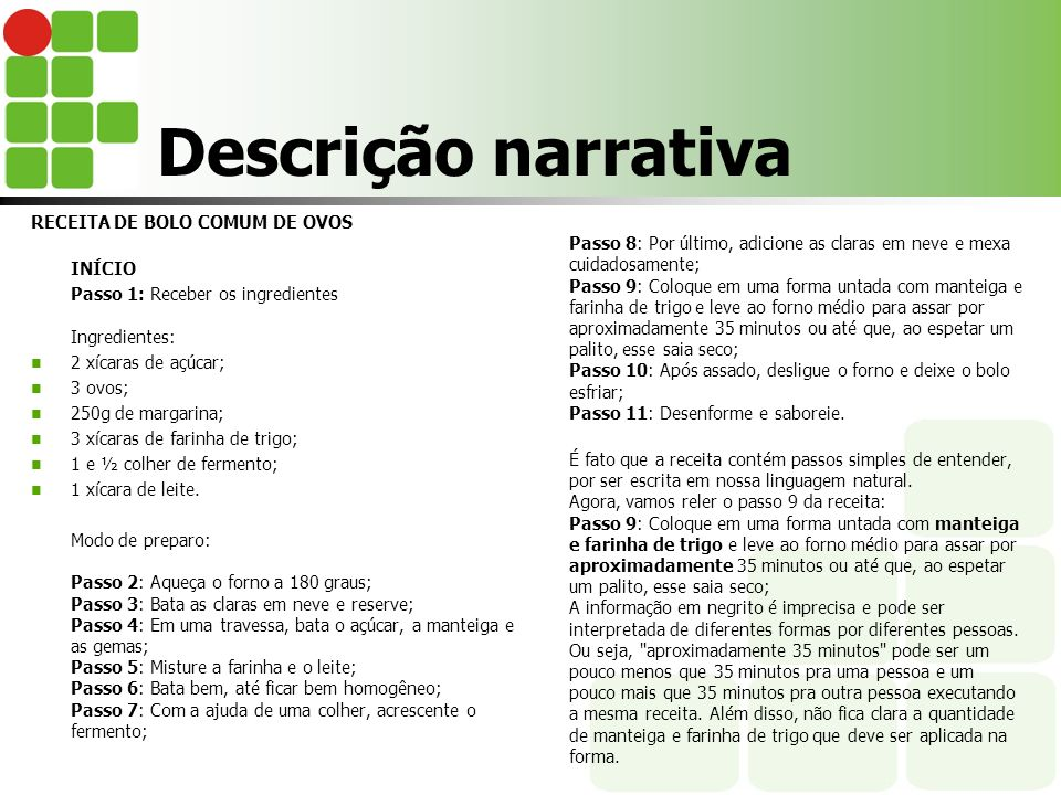 Descrição narrativa RECEITA DE BOLO COMUM DE OVOS