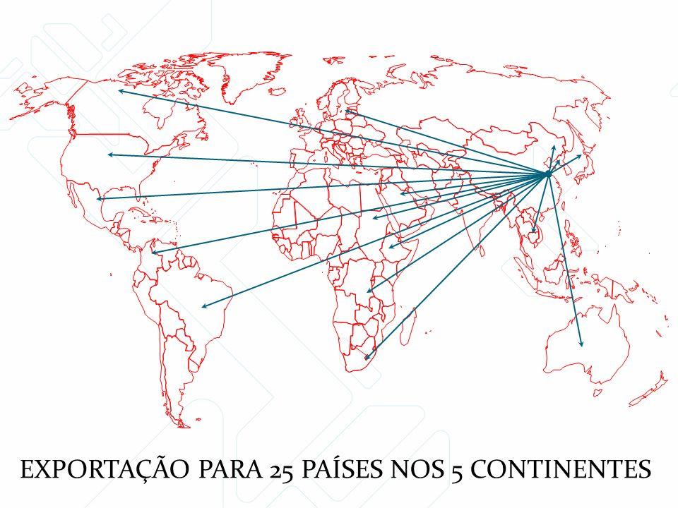 EXPORTAÇÃO PARA 25 PAÍSES NOS 5 CONTINENTES
