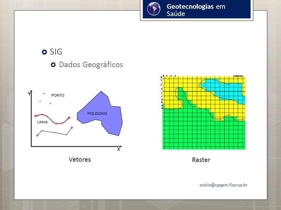 SIG Dados Geográficos Geotecnologias em Saúde Vetores Raster