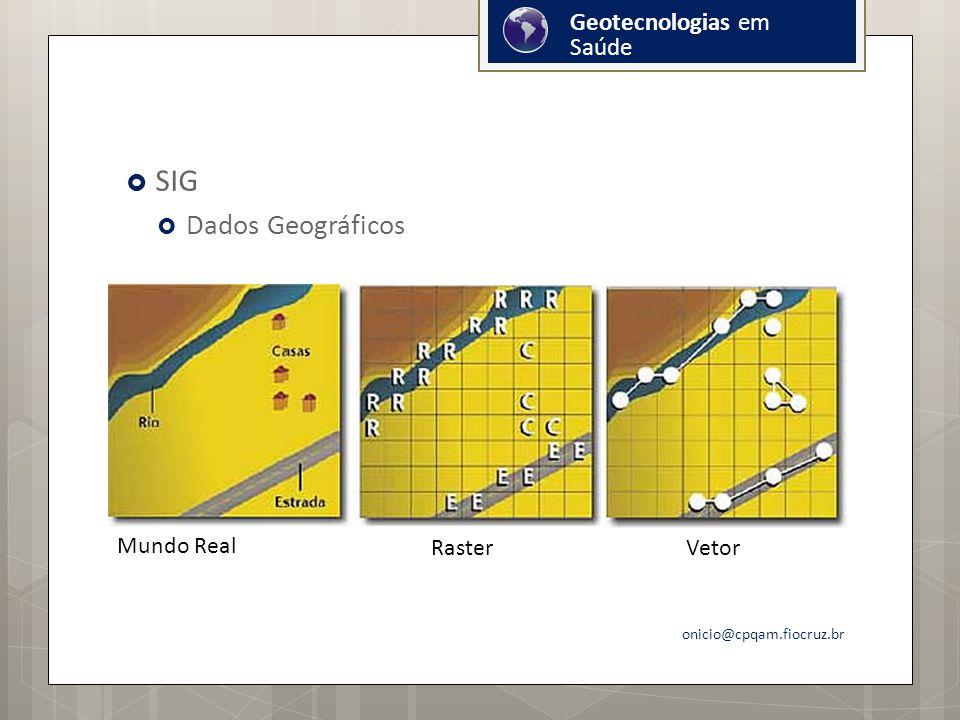 SIG Dados Geográficos Geotecnologias em Saúde Mundo Real Raster Vetor
