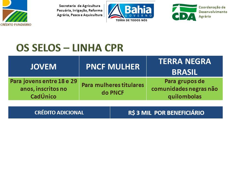 OS SELOS – LINHA CPR JOVEM PNCF MULHER TERRA NEGRA BRASIL