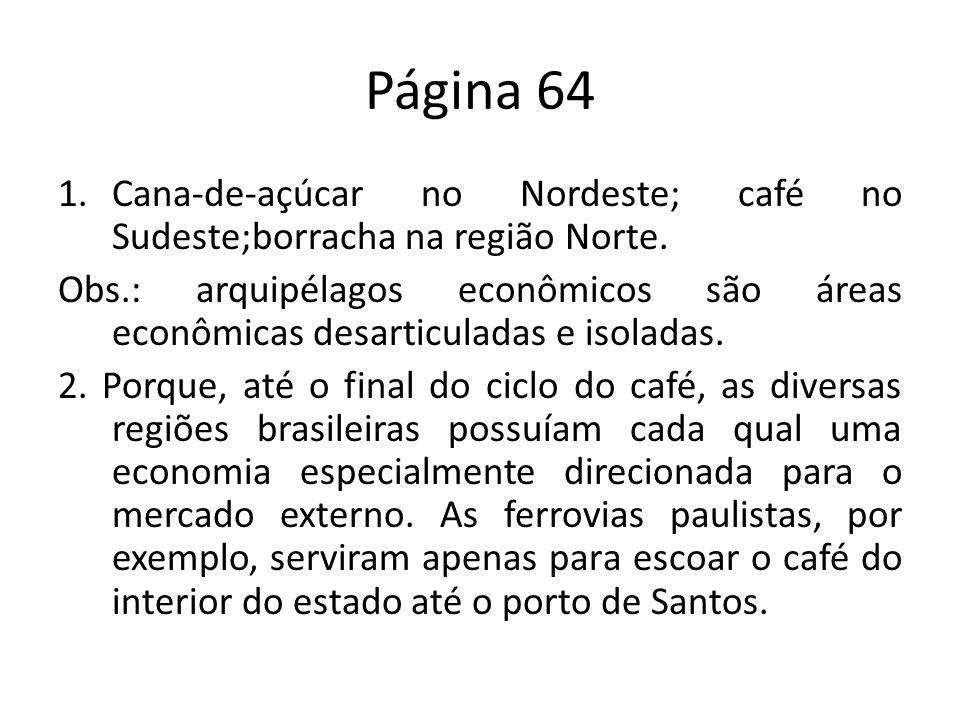 Página 64 Cana-de-açúcar no Nordeste; café no Sudeste;borracha na região Norte.