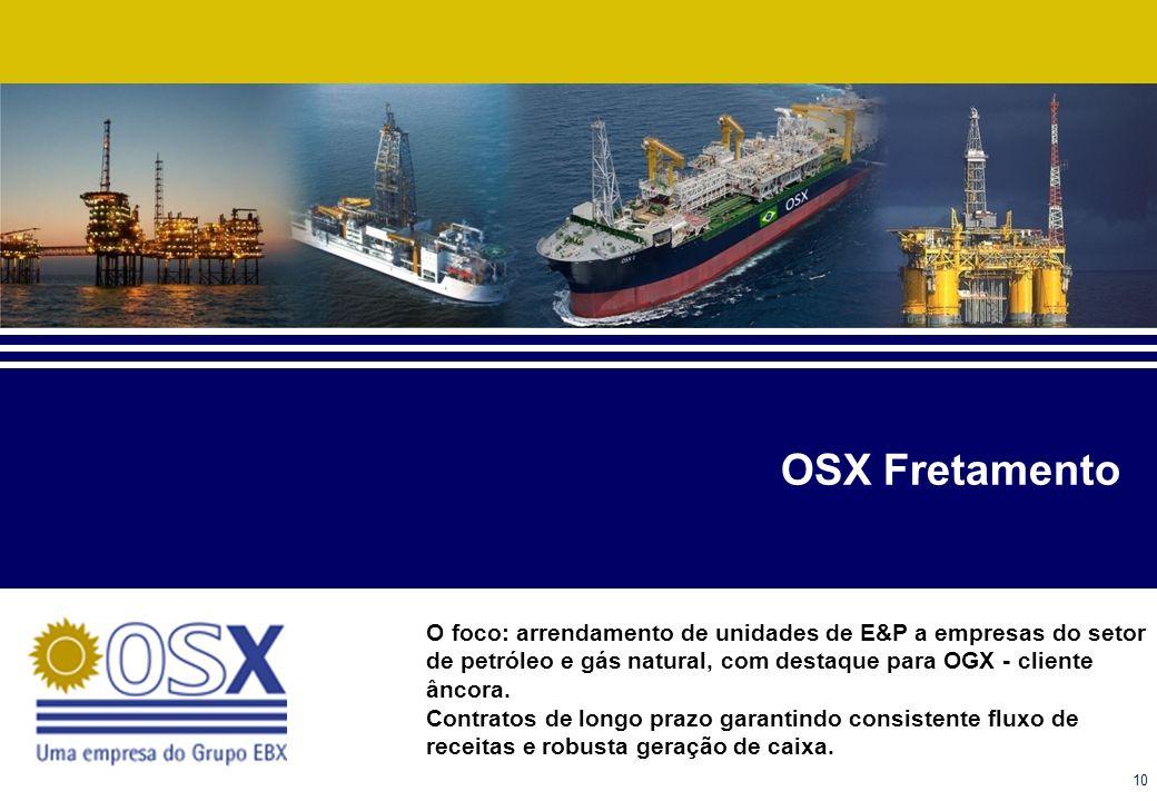OSX Fretamento O foco: arrendamento de unidades de E&P a empresas do setor de petróleo e gás natural, com destaque para OGX - cliente âncora.