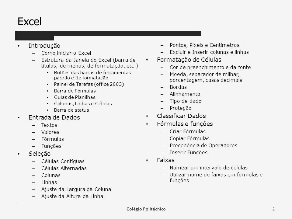 Excel Introdução Formatação de Células Classificar Dados