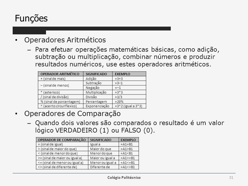Funções Operadores Aritméticos Operadores de Comparação