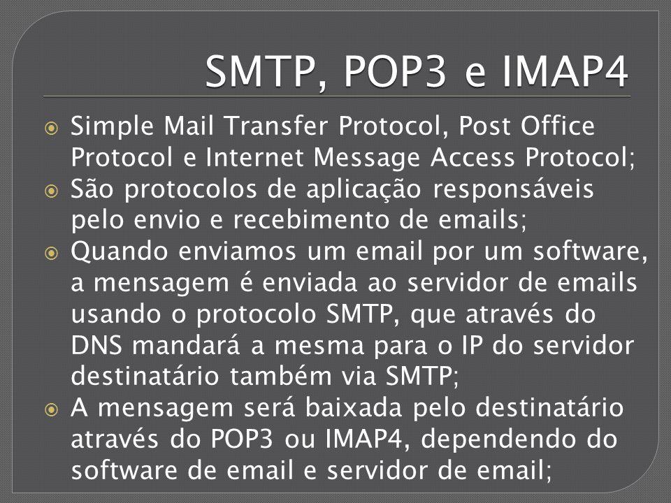 SMTP, POP3 e IMAP4 Simple Mail Transfer Protocol, Post Office Protocol e Internet Message Access Protocol;