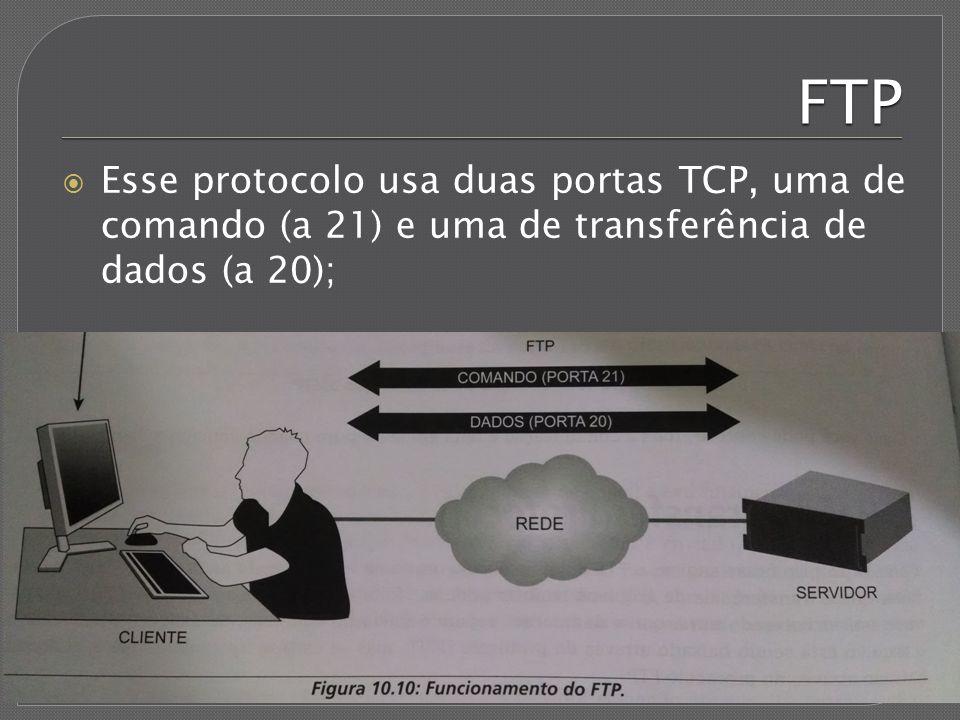 FTP Esse protocolo usa duas portas TCP, uma de comando (a 21) e uma de transferência de dados (a 20);