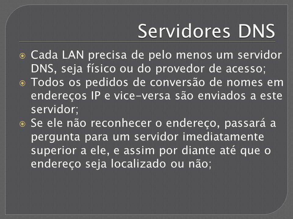 Servidores DNS Cada LAN precisa de pelo menos um servidor DNS, seja físico ou do provedor de acesso;