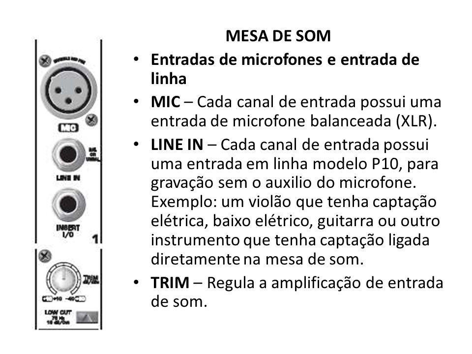 MESA DE SOM Entradas de microfones e entrada de linha. MIC – Cada canal de entrada possui uma entrada de microfone balanceada (XLR).