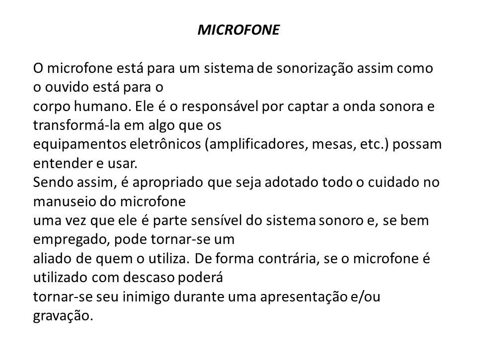 MICROFONE O microfone está para um sistema de sonorização assim como o ouvido está para o.