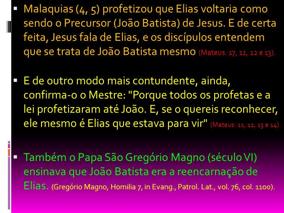 Malaquias (4, 5) profetizou que Elias voltaria como sendo o Precursor (João Batista) de Jesus. E de certa feita, Jesus fala de Elias, e os discípulos entendem que se trata de João Batista mesmo (Mateus: 17, 11, 12 e 13).