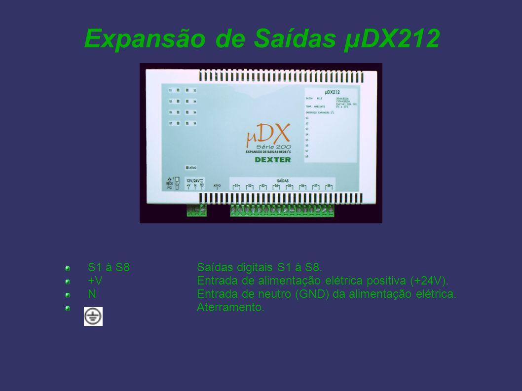 Expansão de Saídas µDX212 S1 à S8 Saídas digitais S1 à S8.