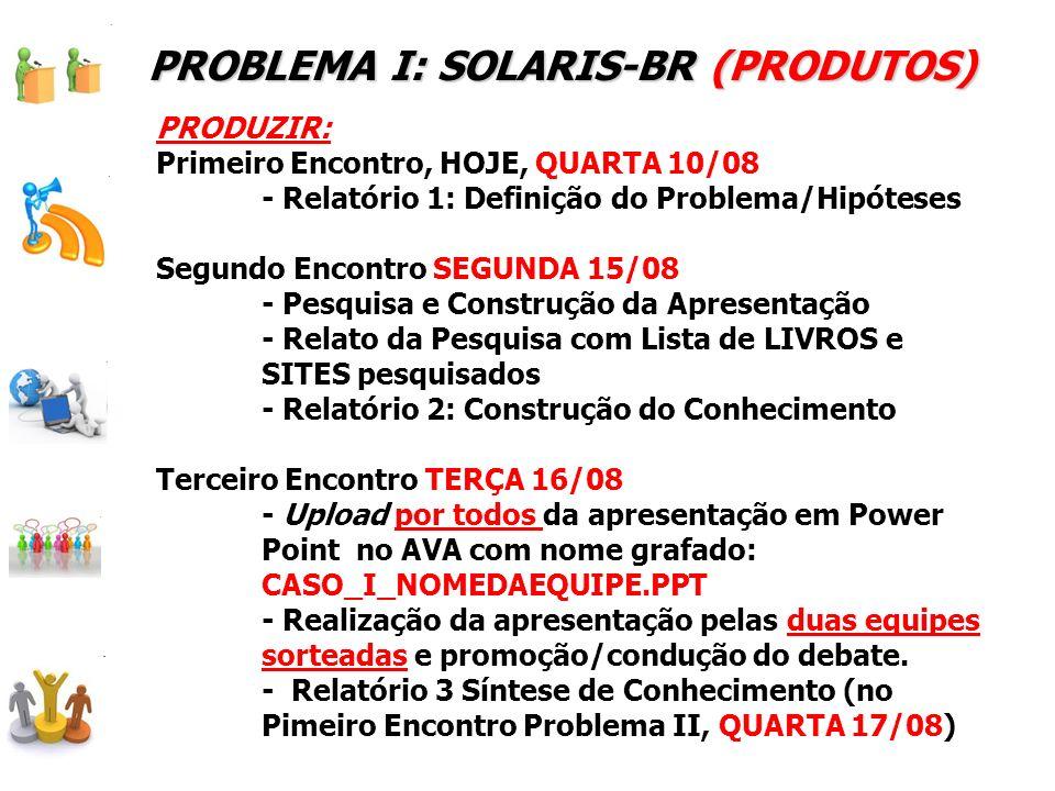 PROBLEMA I: SOLARIS-BR (PRODUTOS)