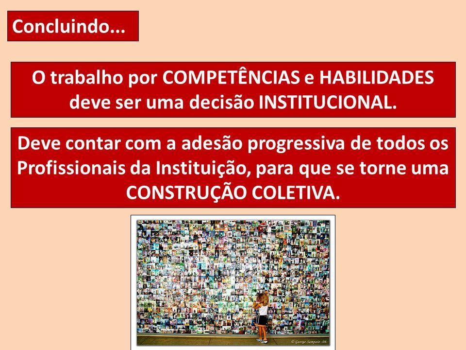Concluindo... O trabalho por COMPETÊNCIAS e HABILIDADES deve ser uma decisão INSTITUCIONAL.